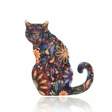 Animal Cat Brooch Pin Women Gifts Cute Cartoon Jewelry Acrylic Printing Flower