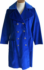 New listing Vtg 60s Coat Small Surrey Classic Canada Royal Blue Double Breasted Satin Lined
