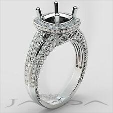 Cushion Semi Mount Diamond Engagement Halo Milgrain Ring 14k White Gold 0.8Ct
