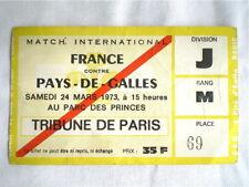 BILLET MATCH DE RUGBY FRANCE PAYS DE GALLES PARC DES PRINCE 1973