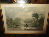 Antique 1835 R. Sands Hand Colored Cows Engraving Buttermere-Cumberland T. Allom