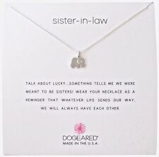 "Dogeared Sister In Law Sterling Silver Elephant Reminder Boxed 16""-18"" Necklace"