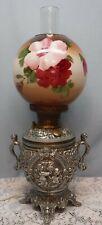 Antique Vtg Cherub Font Electric Oil Lamp w/ Handles Round Globe Shade