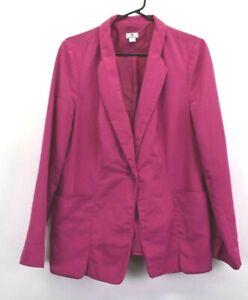 Worthington Women's Large Career Blazer Suit Jacket Fuschia Polyester 1 Button