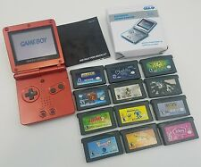 Nintendo Gameboy Advance Works-Tested SP Flame Red Handheld System GBA w/Games