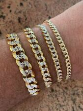 Real Solid 925 Sterling Silver & 14k Gold Diamond Cut Flat Miami Cuban Bracelet