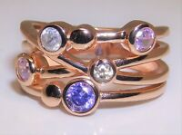 Rose Gold Vermeil & Silver Multi Coloured Topaz Abstract Cocktail Ring - size P