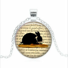 Glass dome Necklace chain Pendant Wholesale Black Rabbit - Rabbit Tibet silver