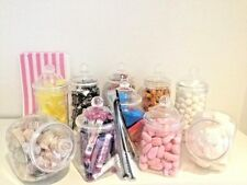 10 x Mixed Jars 4 STYLES inc BAGS & TONGS Candy Cart Sweet/Table Christmas Party