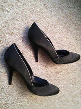 "ELEGANT, BLACK SATIN EVENING SHOES,  4"" HEELS, WITH SILVER LINING BY MONSOON.5.5"