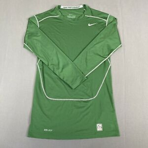 Nike Pro Combat Dri Fit Compression Long Sleeve Fitted Shirt Youth XL Green