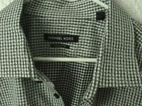 Michael Kors Mens 18.5/34-35 Luxe Cotton Dress Shirt Black White check