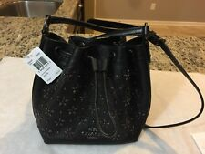 NWT Coach Leather Floral Studded Drawstring Crossbody Swingpack F55630 Black