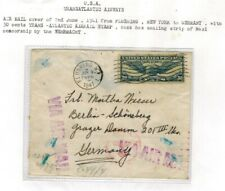 USA WWII 1941 AIR MAIL COVER NEW YORK TO GERMANY NAZI CENSOR LABEL & CANCELS