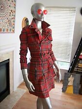 Rare SOLD Out TRIPP NYC Plaid TARTAN Punk MULTI Zipper BELTED Trench Coat M!!