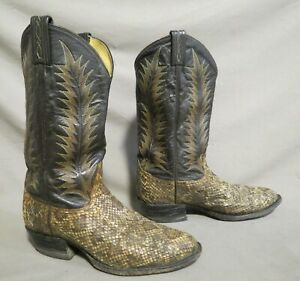 TONY LAMA SNAKESKIN BROWN LEATHER COWBOY RODEO WESTERN BOOTS SIZE 8.5 EE