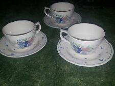 6 Piece Lot Provincial Designs by Nikko Blue Red Flowers Cup & Saucer Japan