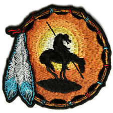 Embroidered End Of The Trail Indian Feathers Iron on Sew on Biker Patch Badge