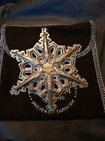 """1983 Gorham Sterling Silver Annual Christmas Snowflake Ornament 3.25"""" & Pouch"""