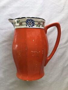 vintage bright neon orange ceramic picther vase home decor pottery blue floral