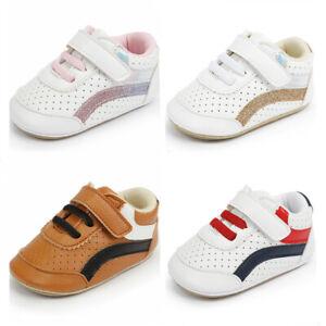 Newborn Baby Boy Girl Leather Pram Shoes Infant Toddler Rubber PreWalker Trainer