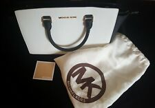 Michael Kors Purse Handbag Satchel EUC Tote Zip Top White Blue bag leather