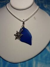 Genuine Cobalt Blue Seaglass From Scotland With Sterling Silver Charm Setting