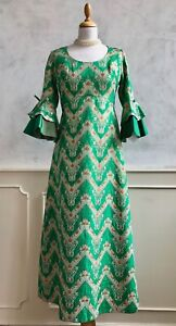 Vintage 1960's Emerald Green Gold Brocade Fluted Arm Statement Maxi Dress S 8/10