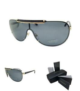 VERSACE VE 2140 100287 40 Gold Black Grey lenses sunglasses AUTHENTIC Mens Pilot