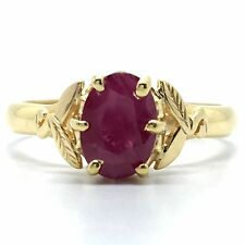 14K Solid Yellow Gold Natural Ruby Ring. July Birthstone. Solitaire