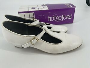 Tic Tac Toes Leather Women's Square Dance Shoes Peggy White 8.5 M Vintage USA