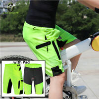 Mens Baggy Cycling Shorts MTB Mountain Bike Sports Built-in Shorts Gel Pad Green