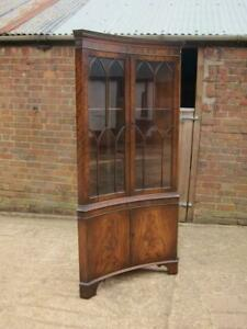 Quality Bevan Funnell Reprodux Walnut Concave Corner Display Cabinet With Keys