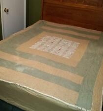 Antique Vintage patchwork cutter quilt mixed fabric hand sewn quilted tan green