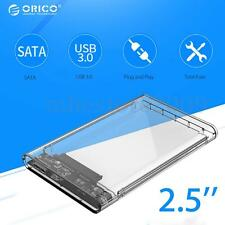 2.5'' Hard Drive Transparent External HDD Case USB3.0 SATA Enclosure Tool-Free