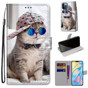 Glasses Cat Fashion Cute Cartoon 3D Popular Wallet Case Cover For Various Phone