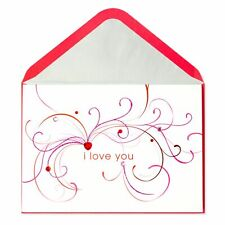 Beautiful PAPYRUS Valentine's Day Card - I Love You Flourishes & Gems