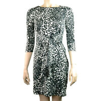 EX.DEBENHAMS PETITE BLACK LEOPARD PRINT DRESS Sizes 6-20