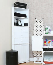 White Wooden Corner Storage Unit Kitchen Bathroom Shelving Drawer Tower Cabinet