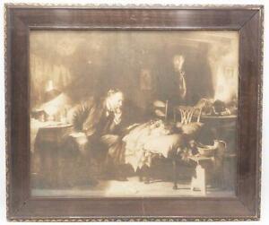 Vintage Antique Wood Brown Ornate Picture Frame Print The Doctor Luke Fildes