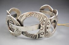 Precious Metal Clay PMC Fine Silver KH1532 Big Bold Circles Cuff Bracelet  NWT