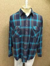 Eye Popping Blue Colors! Vtg Northcrest Acrylic Shadow Plaid LS Shirt Mens XXL