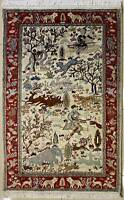 Rugstc 3x5 Senneh Pak Persian Ivory Rug,Hand-Knotted,Pictorial Hunting,Silk/Wool