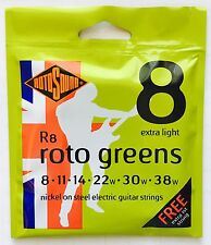 Rotosound R8 Roto Greens Elec Guitar strings extra light gauges 8-38