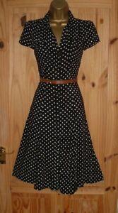 Black white polka dot vintage WW2 40s 50s repro party shirt tea dress size 10 12