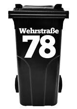 Hausnummer, Beschriftung,Aufkleber für Abfalltonne, Mülltonne,Num Müllbehälter,