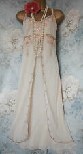 principles cream gold silk bead 20s deco gatsby wedding evening dress 8 36 us 4