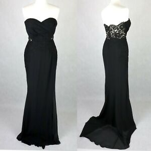 STUNNING Fitted Mermaid Maxi Evening Dress SIZE UK 12 Lace back Ball Gown Black