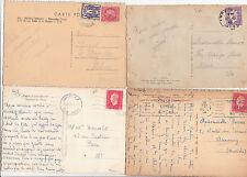 Lot 4 cartes postales timbrées timbres libération 1944 croix de lorraine 4