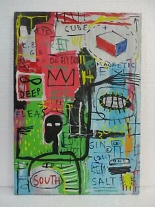 BEAUTIFUL ACRYLIC ON CANVAS BY JEAN-MICHEL BASQUIAT 1982 VERY NICE